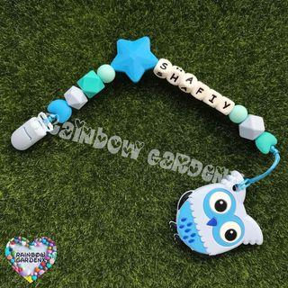 Handmade Pacifier Clip with customised name letter beads + Blue owl Teether