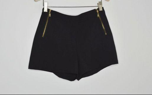 Forever 21 Black Shorts with Gold Zippers