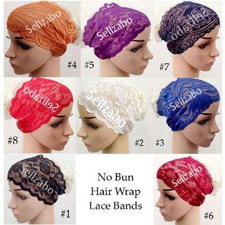 Ready Head Hair Wrap Bands : No Bun Many Colour Instant Lace Stretchable Elastic Sellzabo Hairbands Malay Muslim Muslimah Lacey Accessories Hijab Tudung Inner Hari Raya Basic Hat Cap Hoodle Cover Ladies Girls Women Female Lady