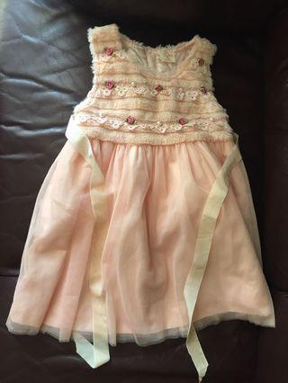 粉紅色連身沙裙