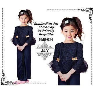 JY Navy Blue BabyGirl Kurung Raya2019