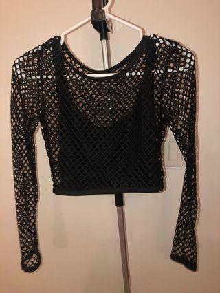 Kardashian Kollection- black fishnet crop top