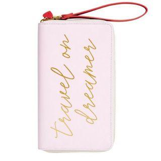 Kikki K leather travel wallet with zip - petal pink
