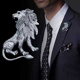 🚚 i-Remiel Antique Silver Animal Lion Brooch Pin Men's Suit Shirt Collar Accessories Lapel Badge Pins and Brooches Wedding Dress