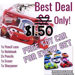 Today only! Deal Children's Mcqueen Stationery Set with Free toy car for Goodie bag