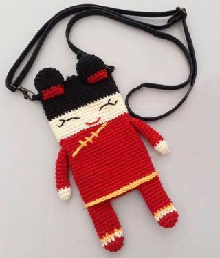 Chinese New Year Girl Handmade Handphone Pouch Crochet