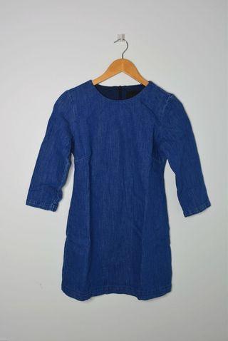 Zara Denim Dress with Three Quarter Sleeve