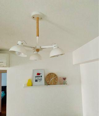Scandinavian white & light wood ceiling light