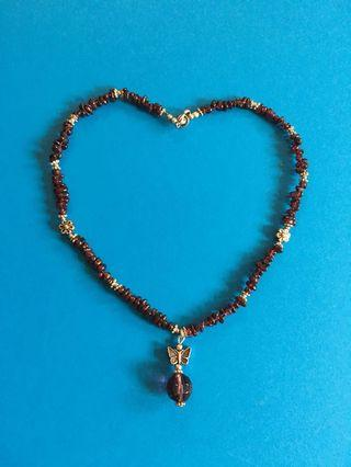 石榴石配銀飾天然石頸鏈