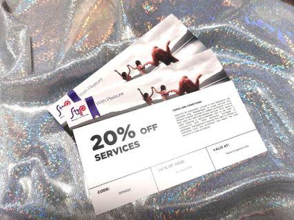 3 X Strip Ministry of Waxing 20% off Services Vouchers