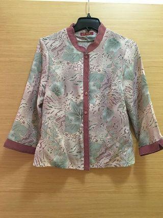 🚚 葉子藕紫色七分袖上衣