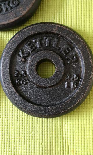 Kettler 3 x 2.5kg weights. Total $6