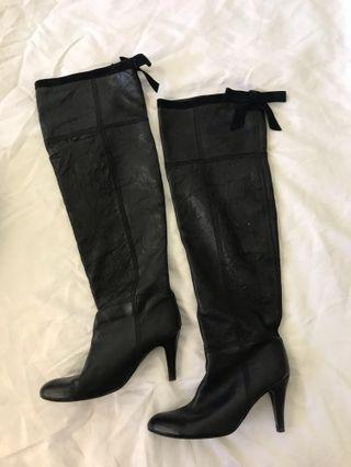 Malene birger black knee high leather boots