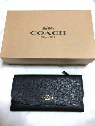 Coach Checkbook Wallet in Polished Pebble Leather