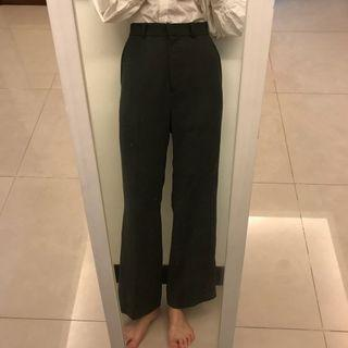 Hong 墨綠高腰喇叭落地褲