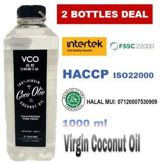 2 Bottle Deal, Coco Olio Virgin Coconut Oil 1L, Cold Pressed, VCO