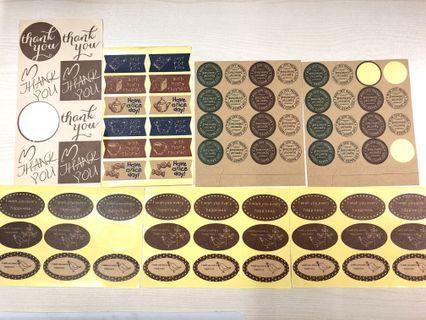 74枚 烘焙 包裝 封口貼紙 復古款
