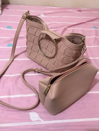 韓國 鐵環格紋斜背包 子母包