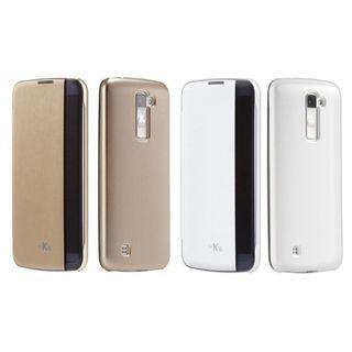 Voia 韓製LG K10原裝側邊透視感應皮套 CleanUP Quick Cover Case連屏幕保護貼,適合: K430DSY, K430N