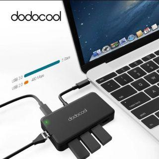 Dodocool 8 in 1 USB-C USB C Hub with Type C Power Delivery USB C Thunderbolt 3 4K Video HDMI SD/TF Card Reader Ethernet for MacBook Pro Macbook Air Ipad Pro Windows Android Adapter