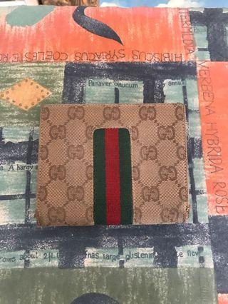 Gucci提花皮革短夾