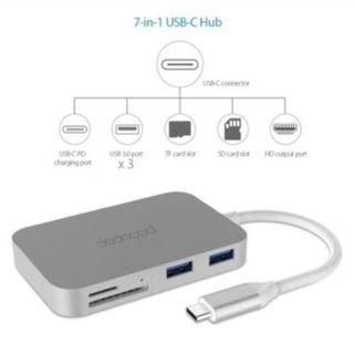 Dodocool 7 in 1 USB-C USB C Hub with Type C Power Delivery USB C Thunderbolt 3 4K Video HDMI SD/TF Card Reader for MacBook Air Pro Windows Android Adapter
