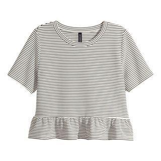 h&m striped ruffle hem peplum cropped babydoll top