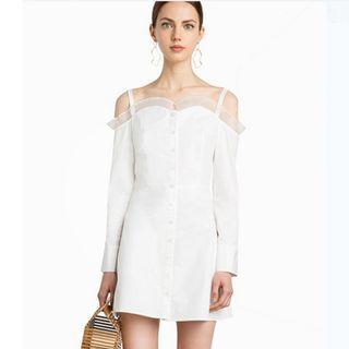 mesh offshoulder dress in white