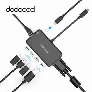 Dodocool 7 in 1 USB-C Hub with 4K HDMI VGA Gigabit Ethernet 3x USB 3.0 USB C Thunderbolt 3 Adapter for Apple Macbook Air Windows Android Hyperdrive