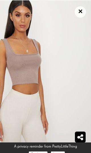 Pretty little thing taupe square neck crop top size 6 good condition