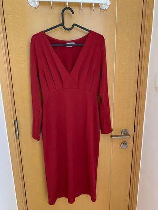 asos女士紅色連身裙