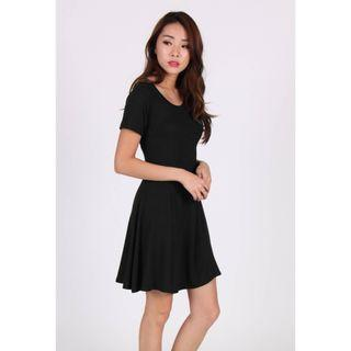 temt textured a-line fit & flare dress in black