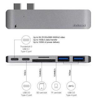 Dodocool Hyperdrive USB C Hub: Thunderbolt 3 USB-C USB 3.1 Hub SD Card Reader for Apple MacBook Pro Hyperdrive