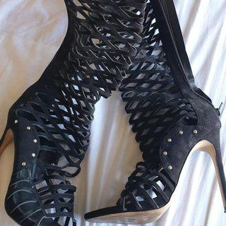 Tie up Zipper boots size 8.5