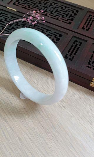 56mm Burmese Type A Icy Translucent Jadeite Jade Bangle