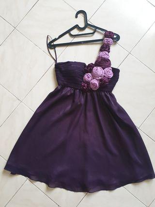 One Shoulder Purple Flowery Dress