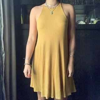 Mustard Ribbed Basics Halter Dress