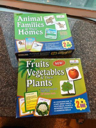 Set animal families and fruits veggies playcards / puzzle / cards/