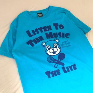 日本復古水藍色短袖上衣 Listen to the music the live 槇原敬之