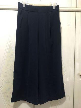Zara 深藍色顯瘦闊腳褲