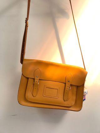 Mustard Yellow Leather Satchel