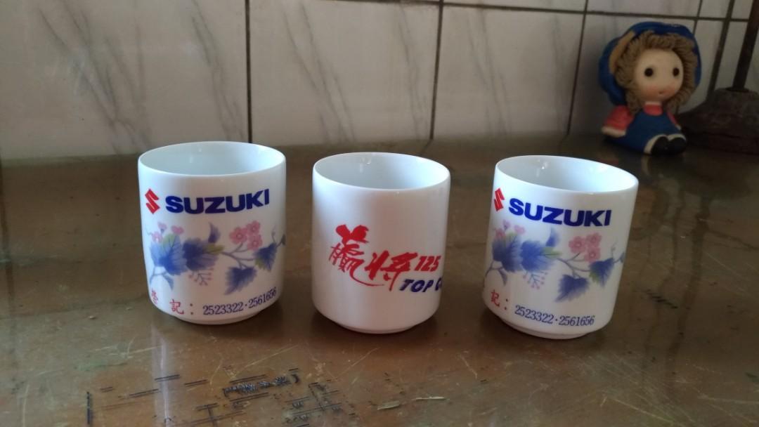 鈴木機車贏將125白瓷茶杯—古物舊貨、早期企業品牌、陶瓷碗盤收藏相關