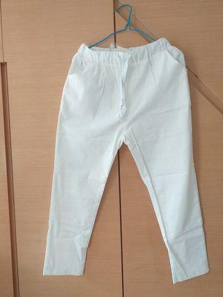 白色棉麻微彈舒適透氣9分褲