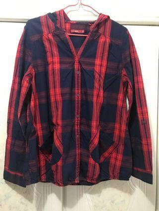 Esprit 紅藍色格仔長袖薄料恤衫