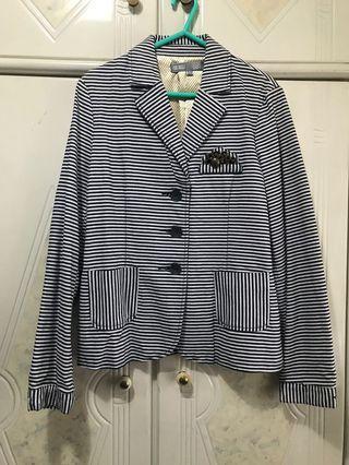 日本品牌 mo:auggi 黑白幼間條西裝外套 西裝褸