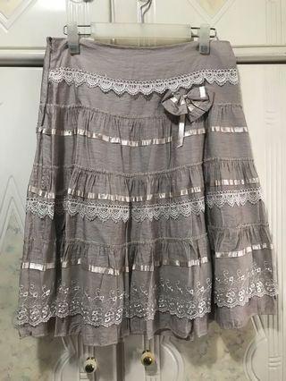 日本品牌 impact 淺啡色厘士半截中長裙