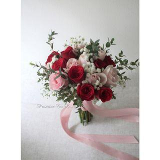 Rustic Fresh Red, Light Pink & White Bouquet (Wedding / ROM/ Bridesmaid / Proposal/ Anniversary/Birthday)