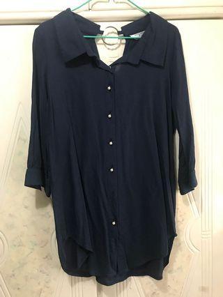 Bess 深藍色薄料長身衫