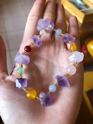 🚚 紫水晶原礦多寶手串 手鍊