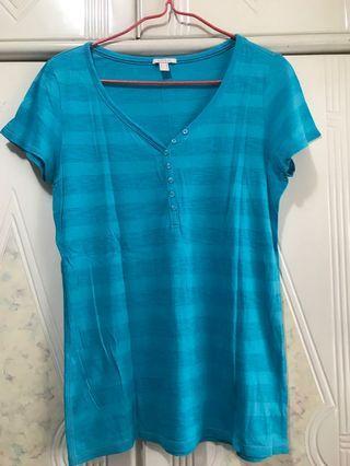 Esprit 藍色間條短袖T恤 tee